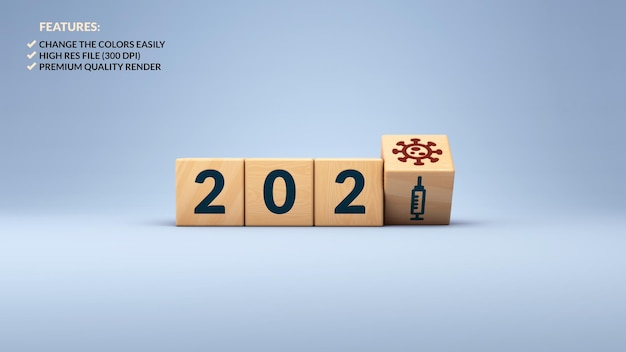 나무 큐브에서 새 해 2021 및 covid 백신 개념의 3d 렌더링