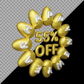 3d-рендеринг новогоднего предложения с 55-процентной скидкой на золото на воздушном шаре