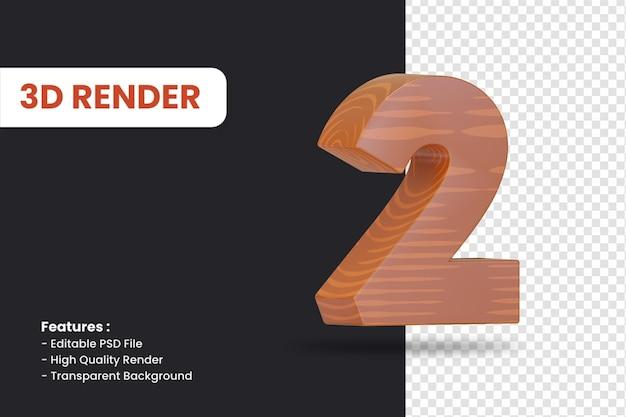 고립 된 나무 질감 효과와 숫자 2의 3d 렌더링