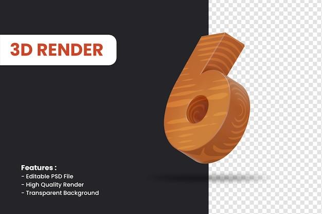 고립 된 나무 질감 효과와 숫자 6의 3d 렌더링