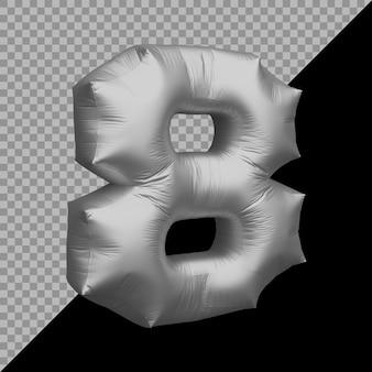 숫자 8 풍선 은색의 3d 렌더링