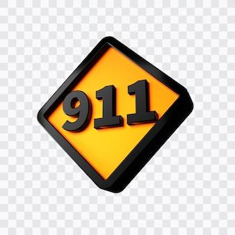 번호 911의 3d 렌더링