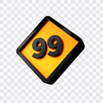 숫자 99의 3d 렌더링