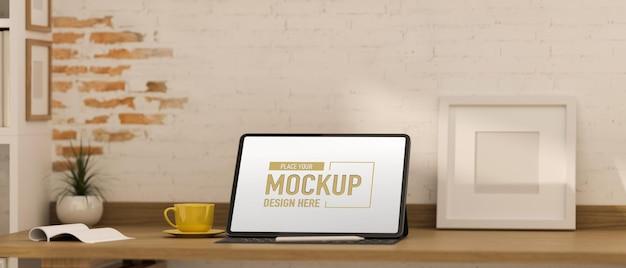 컴퓨터 모형과 사무실 책상의 3d 렌더링