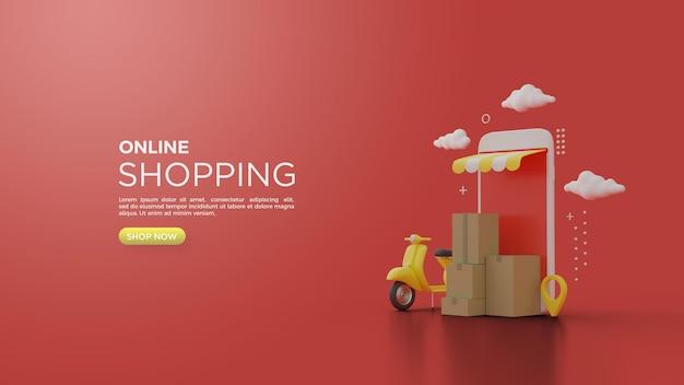 スマートフォンのペスパと段ボールのイラストを使用したオンラインショッピングの3dレンダリング