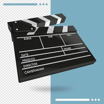開いている映画のカチンコまたは分離されたクラッパーの3dレンダリング
