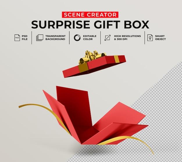 장면 작성자 모형에 대한 열린 깜짝 선물 상자의 3d 렌더링