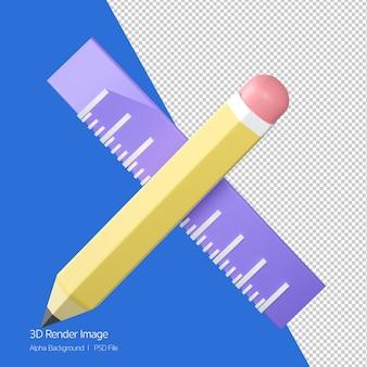 3d-рендеринг значка карандаша и линейки на белом.