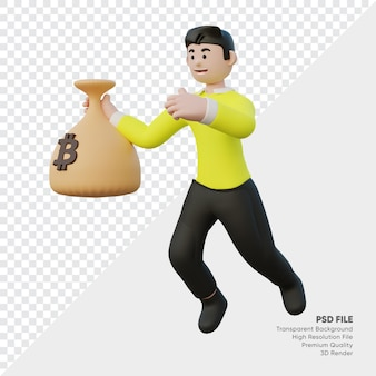 Bitcoin 자루를 들고 사람의 3d 렌더링