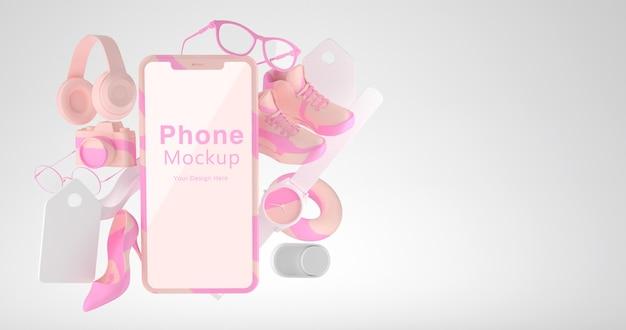 電話のモックアップとオンラインショッピングのコンセプトの3dレンダリング
