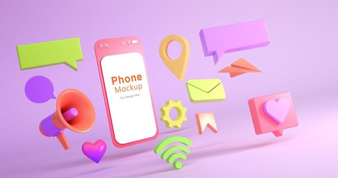 電話のモックアップとソーシャルアイコンの3dレンダリング