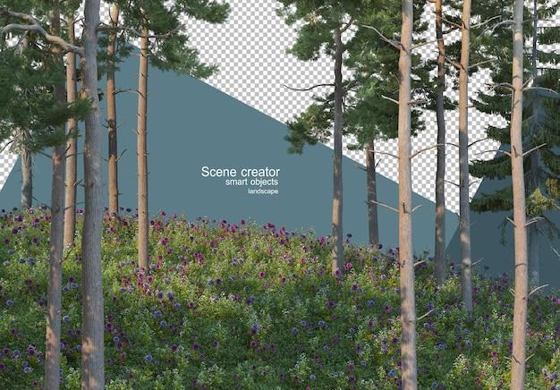 잔디 언덕에 소나무의 3d 렌더링