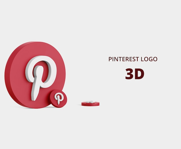 3d-рендеринг логотипа pinterest