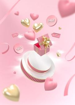 추상적 인 장면 발렌타인 데이 판매와 연단의 3d 렌더링
