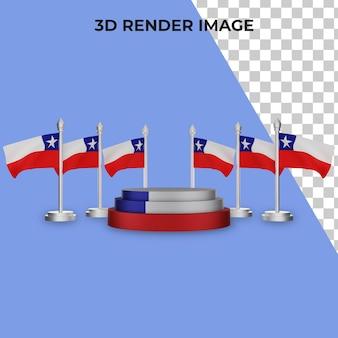 칠레 국경일 개념 프리미엄 psd와 연단의 3d 렌더링