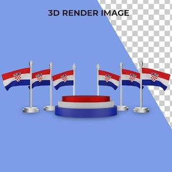 クロアチア建国記念日コンセプトプレミアムpsdによる表彰台の3dレンダリング