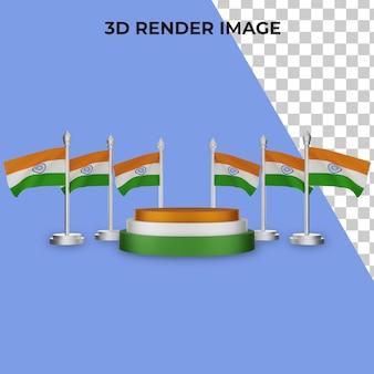 인도 국경일 개념으로 연단의 3d 렌더링