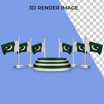 파키스탄 국경일 개념으로 연단의 3d 렌더링