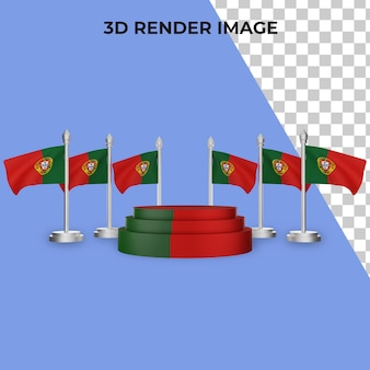 포르투갈 국경일 개념으로 연단의 3d 렌더링