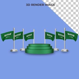 사우디 아라비아 국경일 개념 프리미엄 psd가 있는 연단의 3d 렌더링