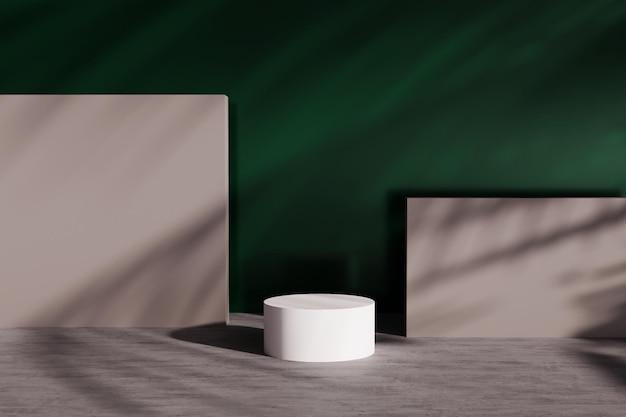 벽에 그림자가있는 제품 디스플레이의 3d 렌더링