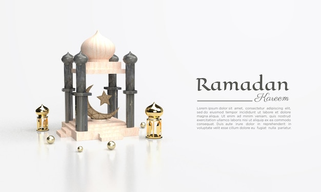 3d-рендеринг рамадана карима с куполами и лампой