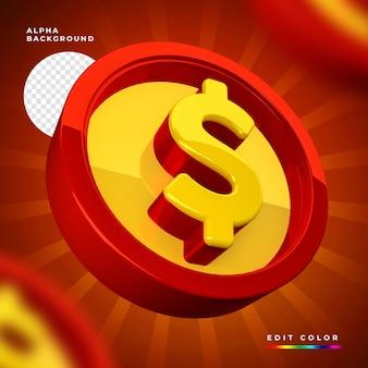 고립 된 빨간색과 노란색 동전의 3d 렌더링