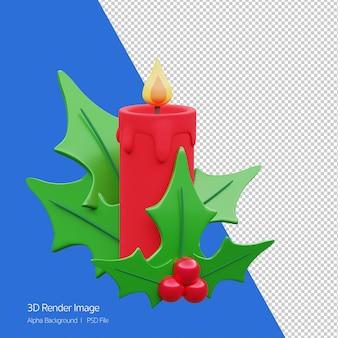 화이트 절연 크리스마스 휴가에 대 한 빨간 촛불 장식의 3d 렌더링.