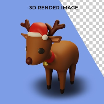 크리스마스와 새 해 개념 순록의 3d 렌더링