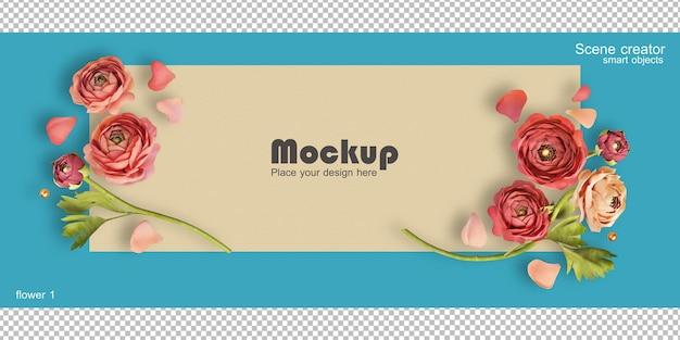 3d-рендеринг роз на открытках ко дню святого валентина