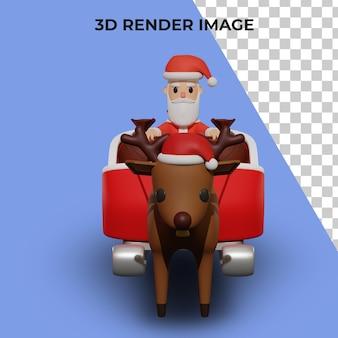 크리스마스와 새해 개념을 가진 산타 캐릭터의 3d 렌더링