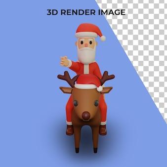 3d-рендеринг персонажа санта-клауса с концепцией рождества и нового года
