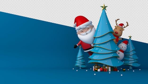 3d-рендеринг санта-клауса, подарочной коробки и елки