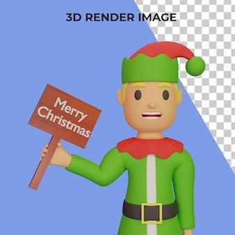 크리스마스와 새해 개념을 가진 산타 엘프 캐릭터의 3d 렌더링