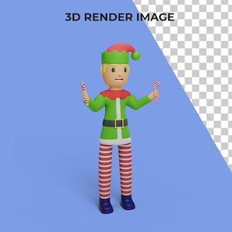 3d-рендеринг персонажа санта-эльфов с концепцией рождества и нового года