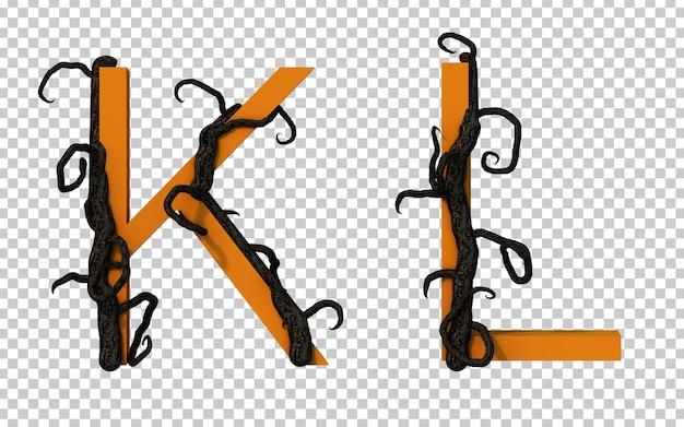 3d-рендеринг страшной ветки дерева, ползущей по алфавиту k и алфавиту l
