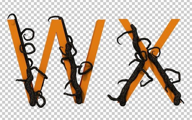 3d-рендеринг страшной ветки дерева, ползущей по алфавиту w и алфавиту x