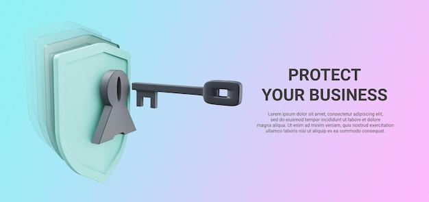 보안 앱 프레젠테이션을위한 키가있는 방패의 3d 렌더링