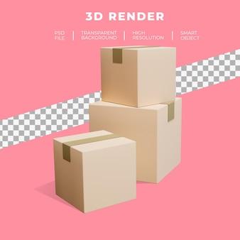 쇼핑화물 배송 판지의 3d 렌더링