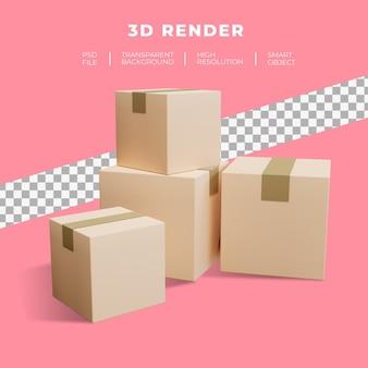 쇼핑화물 배송 판지의 3d 렌더링 프리미엄 PSD 파일