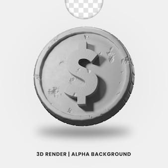 3d-рендеринг серебряной металлической монеты доллара с глянцевым эффектом изолированы. полезно для иллюстрации бизнеса или электронной коммерции.