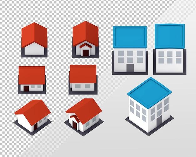여러 직교 뷰가 있는 단순한 로우 폴리 주택 및 건물의 3d 렌더링