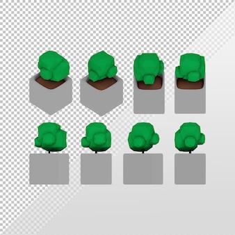 正投影ビューとさまざまな側面の灰色のポットを持つ単純な小さな緑の植物の3dレンダリング