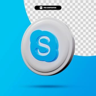 分離されたskypeアプリケーションのロゴの3dレンダリング