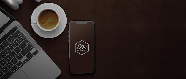 スマートフォンのモックアップの3dレンダリング