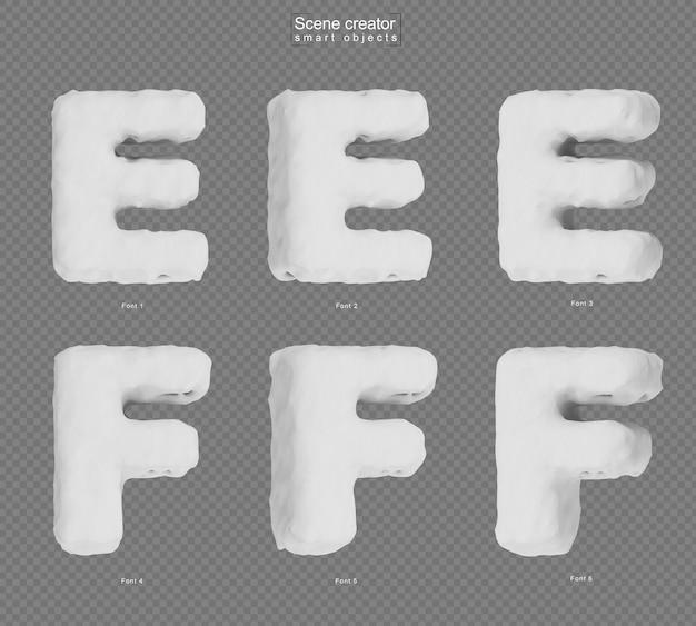 雪のアルファベットeとアルファベットfの3dレンダリング