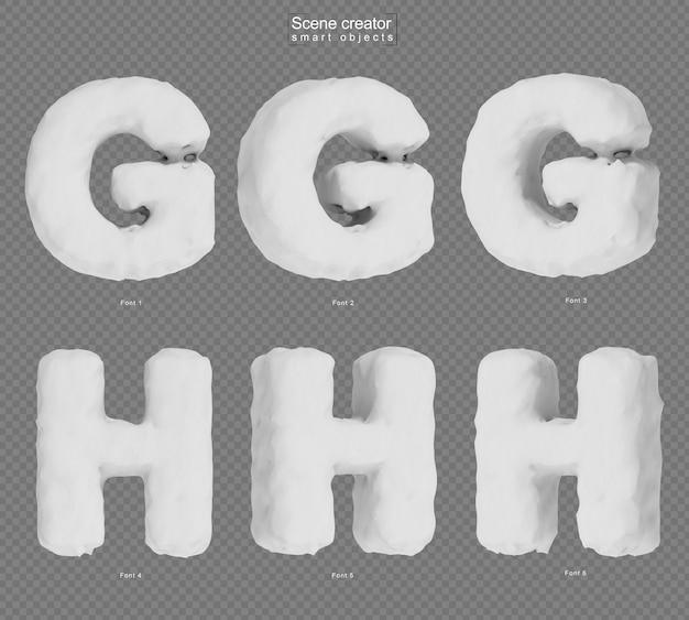 雪のアルファベットgとアルファベットhの3dレンダリング