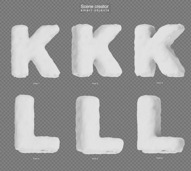 雪のアルファベットkとアルファベットlの3dレンダリング