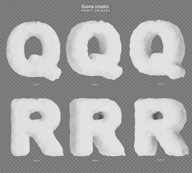 雪のアルファベットqとアルファベットrの3dレンダリング