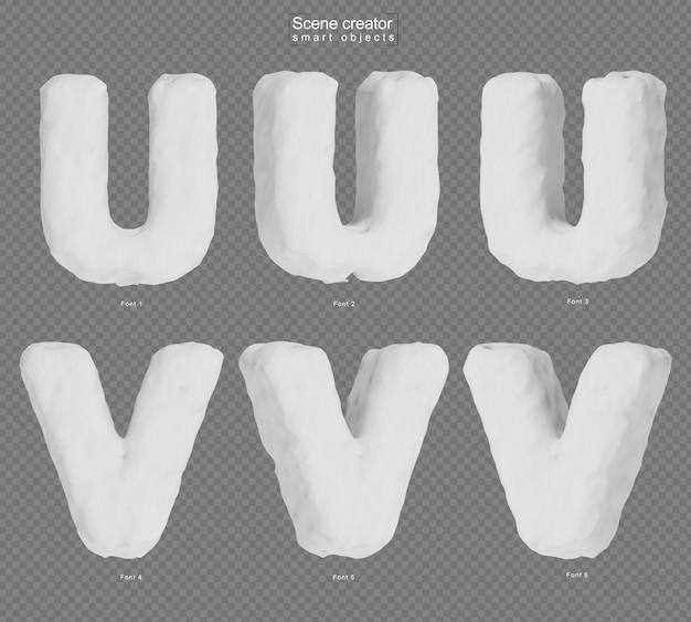 雪のアルファベットuとアルファベットvの3dレンダリング